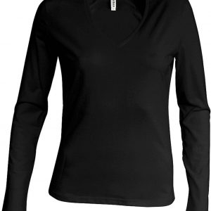 Black Kariban LADIES' LONG SLEEVE V-NECK T-SHIRT Pólók/T-Shirt