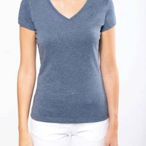 Kariban LADIES' V-NECK SHORT SLEEVE MELANGE T-SHIRT Pólók/T-Shirt
