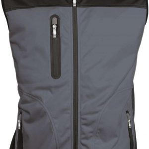 Titanium/Black Kariban MEN'S TRI-COLOUR SOFTSHELL BODYWARMER Polár & Softshell