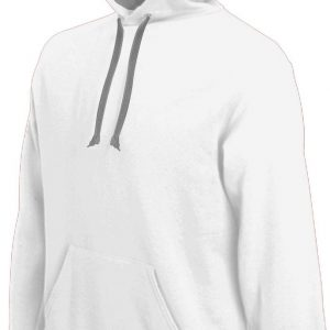 White/Fine Grey Kariban MEN'S CONTRAST HOODED SWEATSHIRT Pulóverek