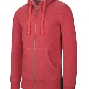 Dark Red Heather Kariban MEN'S MELANGE FULL ZIP HOODED SWEATSHIRT Pulóverek