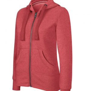 Dark Red Heather Kariban LADIES' MELANGE FULL ZIP HOODED SWEATSHIRT Pulóverek