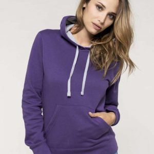 Kariban LADIES' CONTRAST HOODED SWEATSHIRT Pulóverek