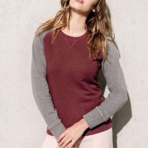 Kariban LADIES' TWO-TONE ORGANIC CREW NECK RAGLAN SLEEVE SWEATSHIRT Pulóverek