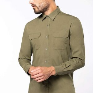Kariban MEN'S LONG-SLEEVED SAFARI SHIRT Formaruhák