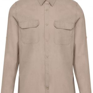 Beige Kariban MEN'S LONG-SLEEVED SAFARI SHIRT Formaruhák