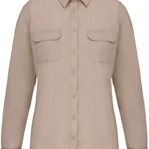 Beige Kariban LADIES' LONG-SLEEVED SAFARI SHIRT Formaruhák