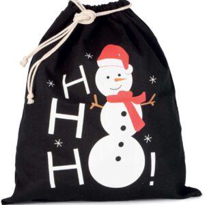Black Kimood COTTON BAG WITH SNOWMAN DESIGN AND DRAWCORD CLOSURE Táskák és Kiegészítők