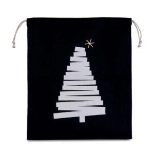 Black Kimood COTTON BAG WITH CHRISTMAS TREE DESIGN AND DRAWCORD CLOSURE Táskák és Kiegészítők