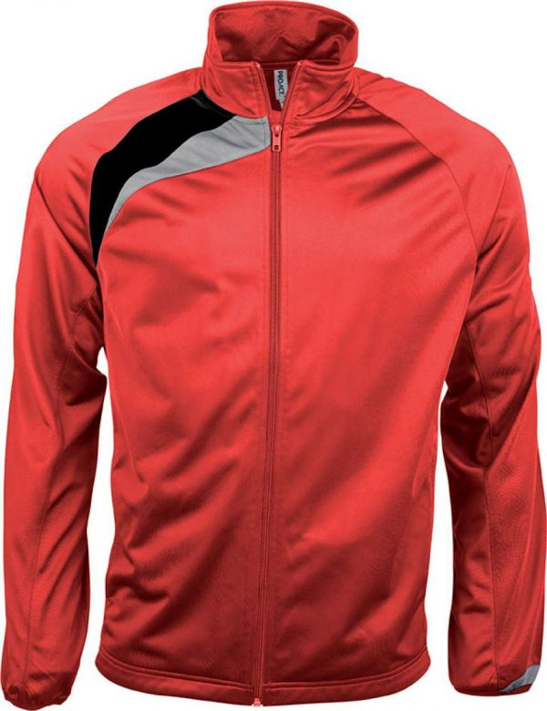 Sporty Red/Black/Storm Grey Proact UNISEX TRACKSUIT TOP Sport