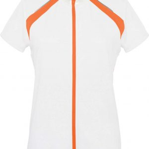 White/Orange Proact LADIES' SHORT SLEEVE BIKEWEAR TOP Sport