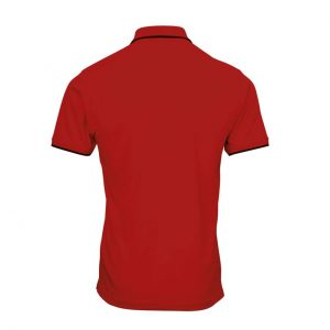 Red/Black Premier MEN' S CONTRAST COOLCHECKER POLO Galléros pólók
