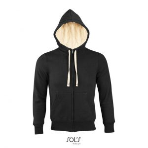 "Black SOL'S SHERPA - UNISEX ZIPPED JACKET WITH ""SHERPA"" LINING Pulóverek"