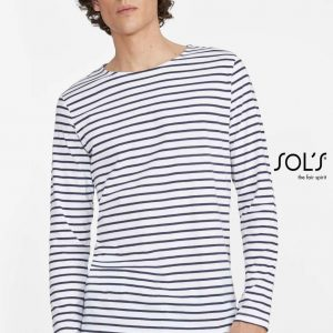 SOL'S MARINE MEN LONG SLEEVE STRIPED T-SHIRT Pólók/T-Shirt