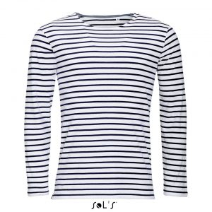 White/Red SOL'S MARINE MEN LONG SLEEVE STRIPED T-SHIRT Pólók/T-Shirt
