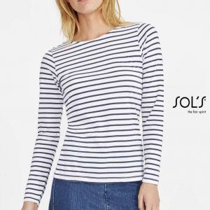 SOL'S MARINE WOMEN LONG SLEEVE STRIPED T-SHIRT Pólók/T-Shirt