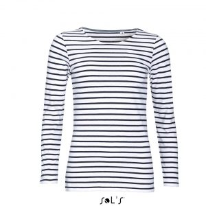 White/Red SOL'S MARINE WOMEN LONG SLEEVE STRIPED T-SHIRT Pólók/T-Shirt