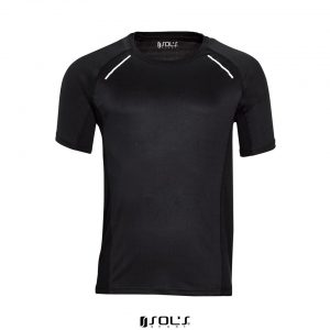 Black SOL'S SYDNEY MEN - SHORT SLEEVE RUNNING T-SHIRT Sport