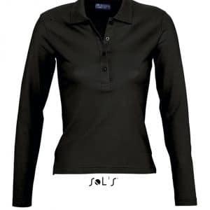 Black SOL'S PODIUM - WOMEN POLO SHIRT Galléros pólók
