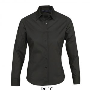 Black SOL'S EDEN LONG SLEEVE STRETCH WOMEN'S SHIRT Formaruhák