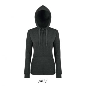Charcoal Melange SOL'S SEVEN WOMEN - JACKET WITH LINED HOOD Pulóverek
